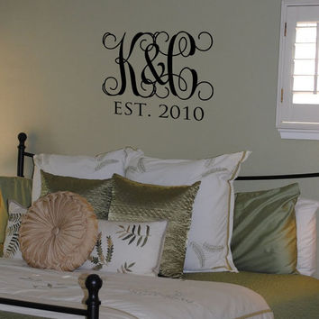 Personalized Initials Vine Monogram Family Vinyl Wall Art