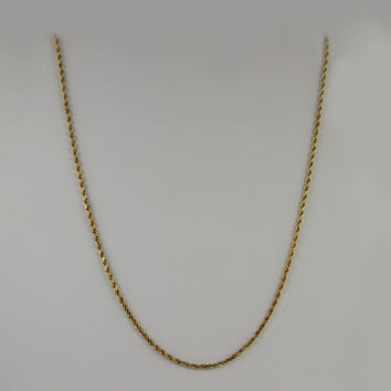 Rope Chain 18 Inches 2mm 8.4 Grams in 14K Yellow Gold