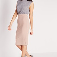 Missguided - Ribbed Bodycon Midi Skirt Mauve