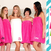 Hot Pink Adult Towel Wrap personalized FREE just for you.  Will be gift wrapped.