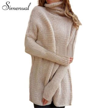Simenual Vintage winter turtleneck sweater