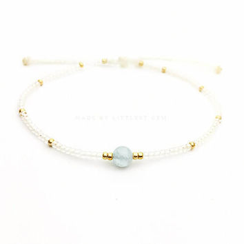 Aquamarine Friendship Bracelet - Best Friend Bracelet - Best Friend Gift - Beaded Bracelet - Gemstone Bracelet - March Birthday