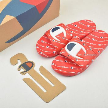 Champion Life Youth Slide Sandals Repeating Logo Red - Best Online Sale