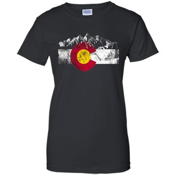Colorado Flag Moutain Vintage T Shirt - Colorado Day Shirts