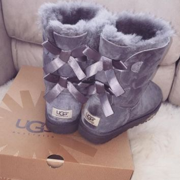 UGG:: bow leather boots boots in tubeb cute two bowknot Grey