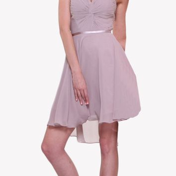 Short Twisted Bodice Chiffon Mauve Bridesmaid Dress Strapless