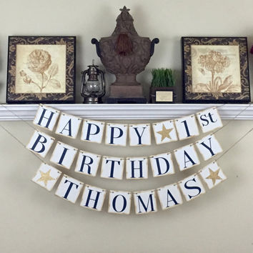 30th Birthday Banner, Custom Name Birthday Banner, Birthday for him, Happy Birthday Banner, 40th Birthday Party Decor, Any year Birthday