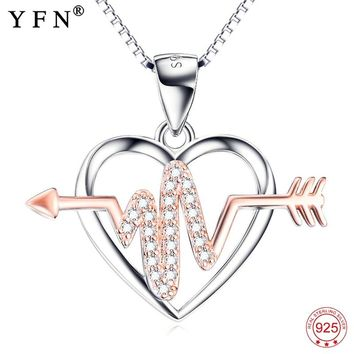 925 Sterling Silver Rose Crystal Arrow Through Heart Love Pendants Necklaces For Women Heartbeat Jewelry Nurse Gifts GNX10274
