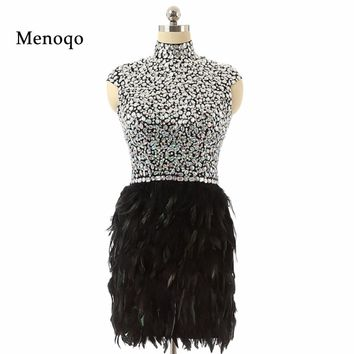 Hot sale 2017 Real Photo Black High neck Cap sleeve fully beaded crystal peacock short feather homecoming dresses