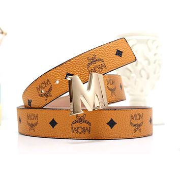 MCM Tide brand wild men and women classic print smooth buckle belt brown