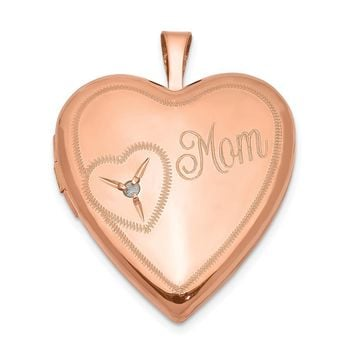 925 Sterling Silver Rose Gold-plated 20mm Mom with Diamond Heart Locket