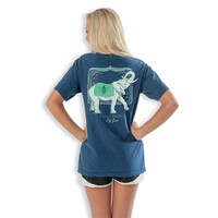 Elephant Raised Right Tee in True Navy  by Lily Grace