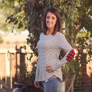 Striped Plaid Elbow Patch Raglan Top in Ivory