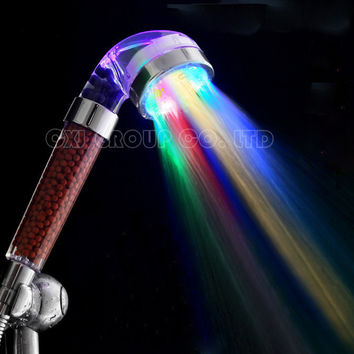 Shipping 7 Colors Change Led Shower Tourmaline Spa Anion Hand Held Bathroom Led Shower Head Filter Hand Shower Saving Water