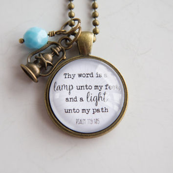 Scripture Necklace - Psalm 119 - Christian Jewelry Scripture Pendant Bible Verse - Thy Word Is A Lamp Inspirational Custom Gift Woman Church