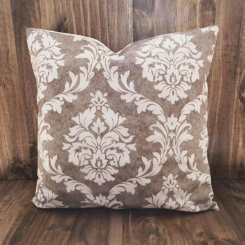 Mocha Damask 16 x 16 Pillow Cover, houswarming gift, cushion cover, room decor