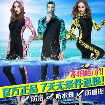 Jellyfish clothing female male plus size long-sleeve swimwear sun-proof snorkeling one-piece swimming suit diving suit Wetsuit