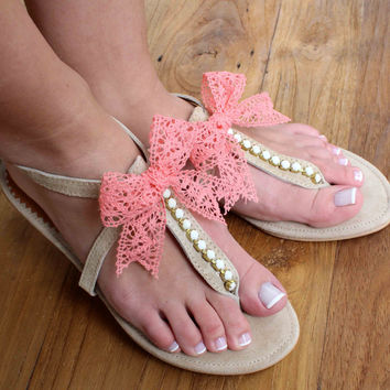 Leather Sandals - Wedding Sandals - Bridesmaid Sandals - Wedding Gift - Off White Rhinestones Sandals - Lace Bow Sandals