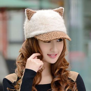 DCCKHY9 2013 new design hot sale winter women's baseball cap cat ears devil cap leopard print rabbit fur hat female lady warm winter cap