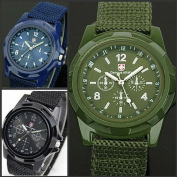 Luxury Analog Fashion Trendy Sports watch Military WristWatch watches for Mens Swiss Gemius Army Watches Quartz Watch Canvas strap watch