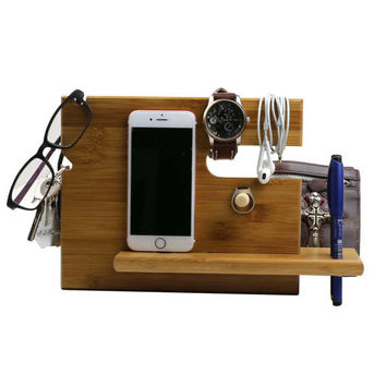 handmade - Bamboo Phone Docking Station with Key Holder, Pen Holder, Wallet and Watch Organizer Men's Gift