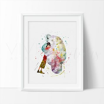 Hiro Hamada and Baymax Watercolor Art Print