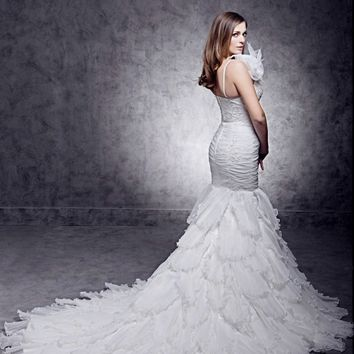 Mermaid Trumpet Wedding Dress Backless Court Train Organza Satin Bridal Gown with Beading Appliques Flowers