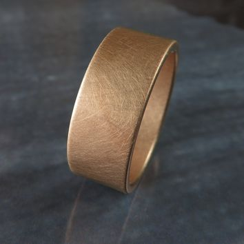 Brushed 8MM Rose Gold Low Profile Wedding Band