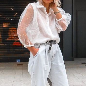 Chiffon Mesh Lace Transparent Women's Shirt Tops White Sexy Lantern Sleeve Appliques Dot Blouse Women 2019 Summer Casual Blouses