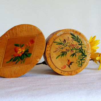 SALE Asian Bamboo Ring Boxes..Lacquered with Art on Lid..Green Satin Lining.. Set of 2..Unique Gift..Jewelry Box..Gift Box..Christmas