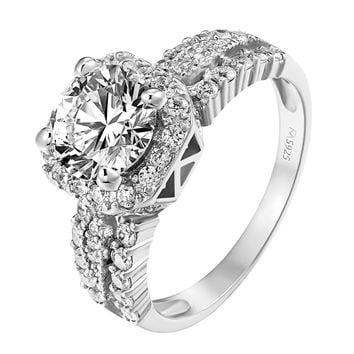 Sterling Silver Solitaire Ring Wedding Engagement Halo Engagement Promise SZ 6-8