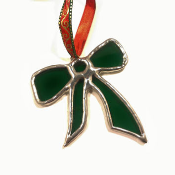 Green Bow Stained Glass Christmas Tree Ornament, Small, Free Shipping