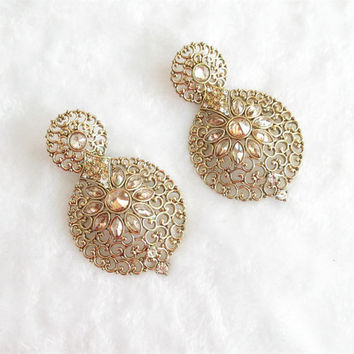 Glamour Look Antique Crystal And Rhinestones Studded Round Earrings For Bridal Wedding/Indian Wedding Earrings Jewelry/Bollywood Earrings