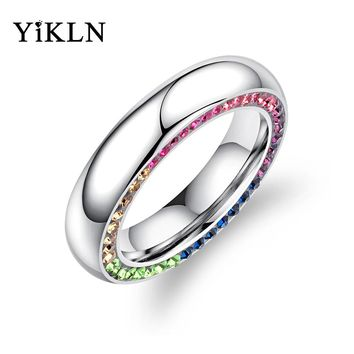 YiKLN Luxury Sparkling Cubic Zirconia Wedding Rings For Women Colorful Rhinestone Statement Bands Female Engagement Ring OGJ595