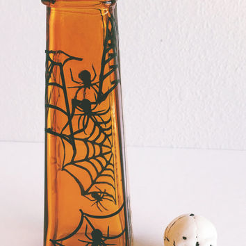 Web World Glass Vase - Multi-purpose Container - Candle Holder - Makeup Holder - Decor - Halloween