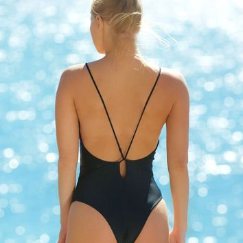 Elizabeth Jane Black Keyhole Back One Piece