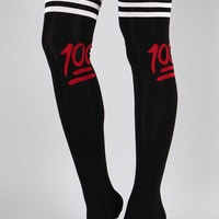 100 Emoji Thigh High Socks