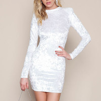 WHITE VELVET CRUSH MINI DRESS