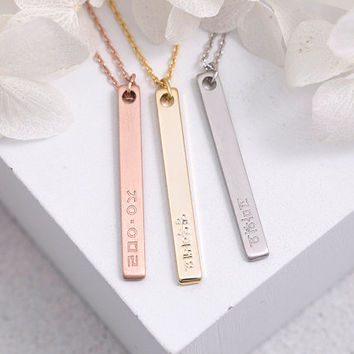 Korean Engraved Bar Necklace, Name Plate - Bridesmaid Gift, Gift for Her, Gift For Mom, Gold, Rose Gold, Silver,LUVINMARK, LVMKK7