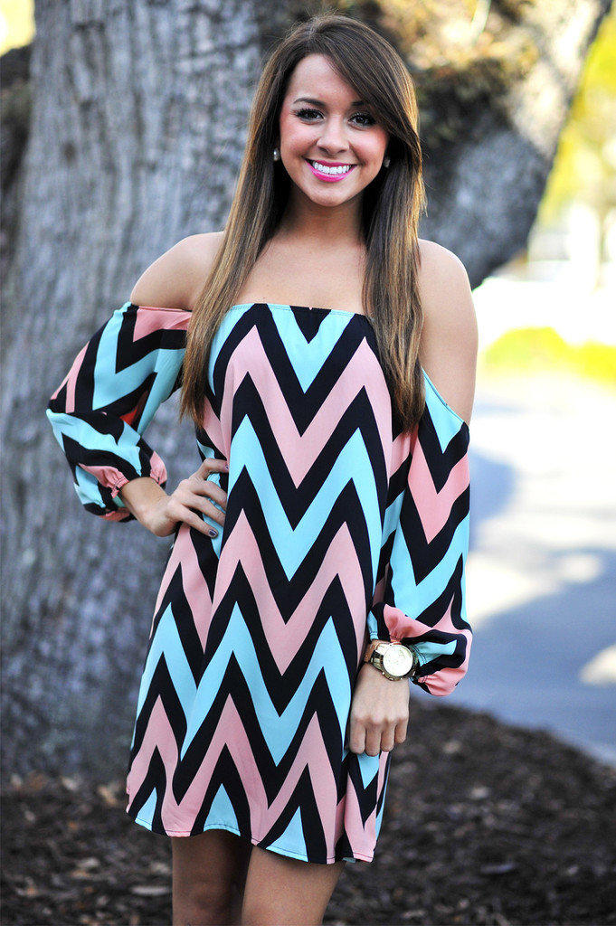 Happily Ever Chevron Dress Pink Blue From Hope S Dresses