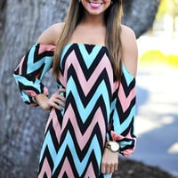 Happily Ever Chevron Dress: Pink/Blue | Hope's
