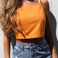 Orange Bow Tie Back Cami Crop Top