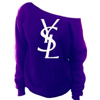 YSL Yves Saint Laurent Inspired Off-The-Shoulder Oversized Slouchy Sweatshirt [03141]