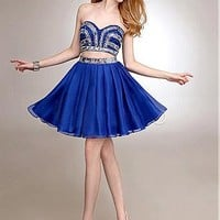 Buy discount Chic Satin & Sequin Lace & Silk Like Chiffon Sweetheart Neckline Knee-length A-line at Dressilyme.com