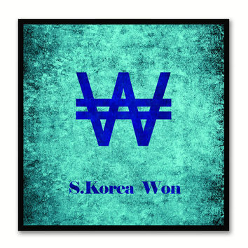 South Korea Won Money Currency Aqua Canvas Print with Black Picture Frame Home Decor Wall Art Collection Gifts