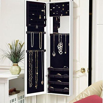 Armoire Jewelry Cabinet Over Door Box Storage Chest Organizer Necklace White NEW