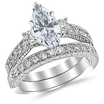 CERTIFIED | 1.73 Carat t.w. Marquise Three Stone Vintage With Milgrain & Filigree Bridal Set with Wedding Band & Diamond Engagement Ring E/SI1 Clarity Center Stones. (Platinum, Yellow, White, Rose)