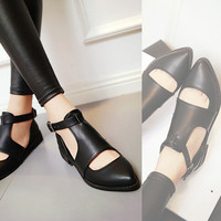 Pointed Toe Women Flats Buckle Pu Leather Shoes Woman 3396