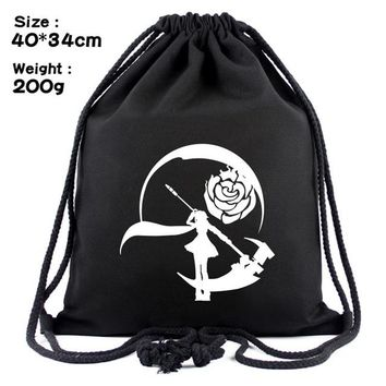Anime Backpack School Hot Movie RWBY Canvas Drawstring Bag kawaii cute Cartoon Travel Backpack Gifts Young Men Women Portable Foldable Backpacks Bags AT_60_4