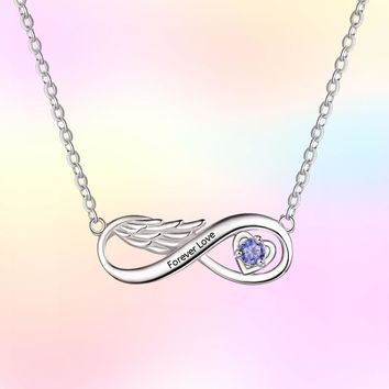 Personalized Necklaces Initial Name Jewelry Simulated Birthstone Infinity Angel Wings 925 Sterling Silver Gift-Favetsy
